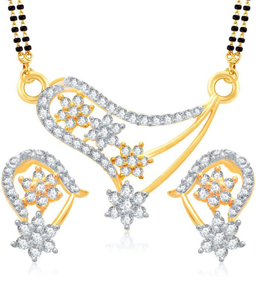 Vk Jewels Dazzling Stars Gold And Rhodium Plated Mangalsutra Pendant Set With Earrings