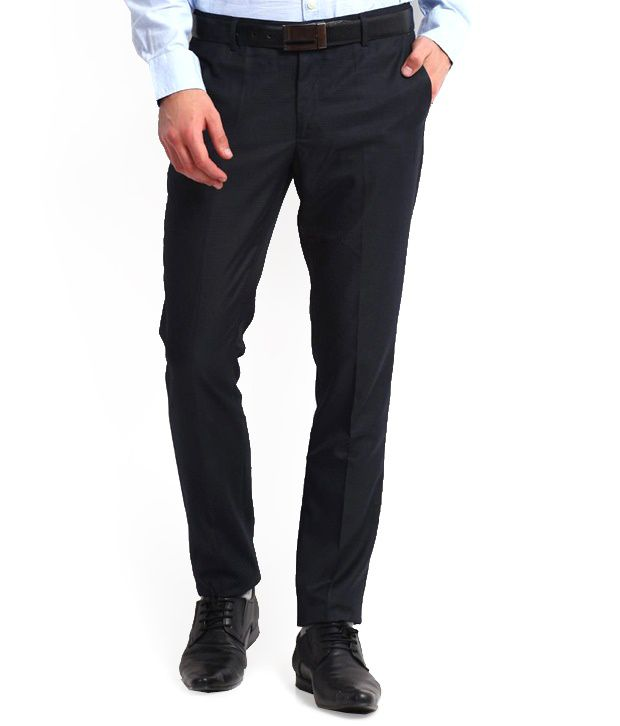 Whitetone Cotton Blend Navy Formal Trousers