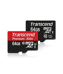 Transcend MicroSDHC Premium, 300x, 45Mbps, Class 10, SDXC 1,UHS-1, 64GB With Adapter