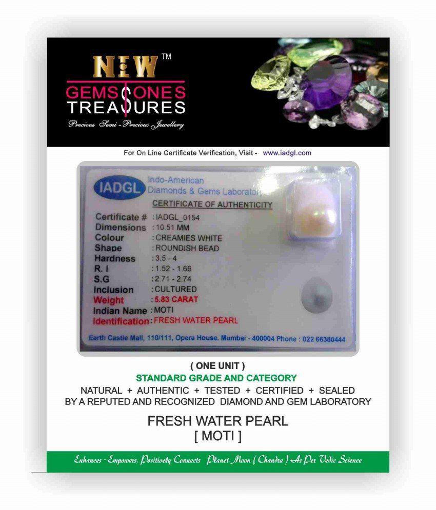 A1 Gemstones Treasures Niw's Certified Gemstone Fresh Water Pearl (moti) Of 6.41 Ratti ( 5.83 Carat ), Standard Category