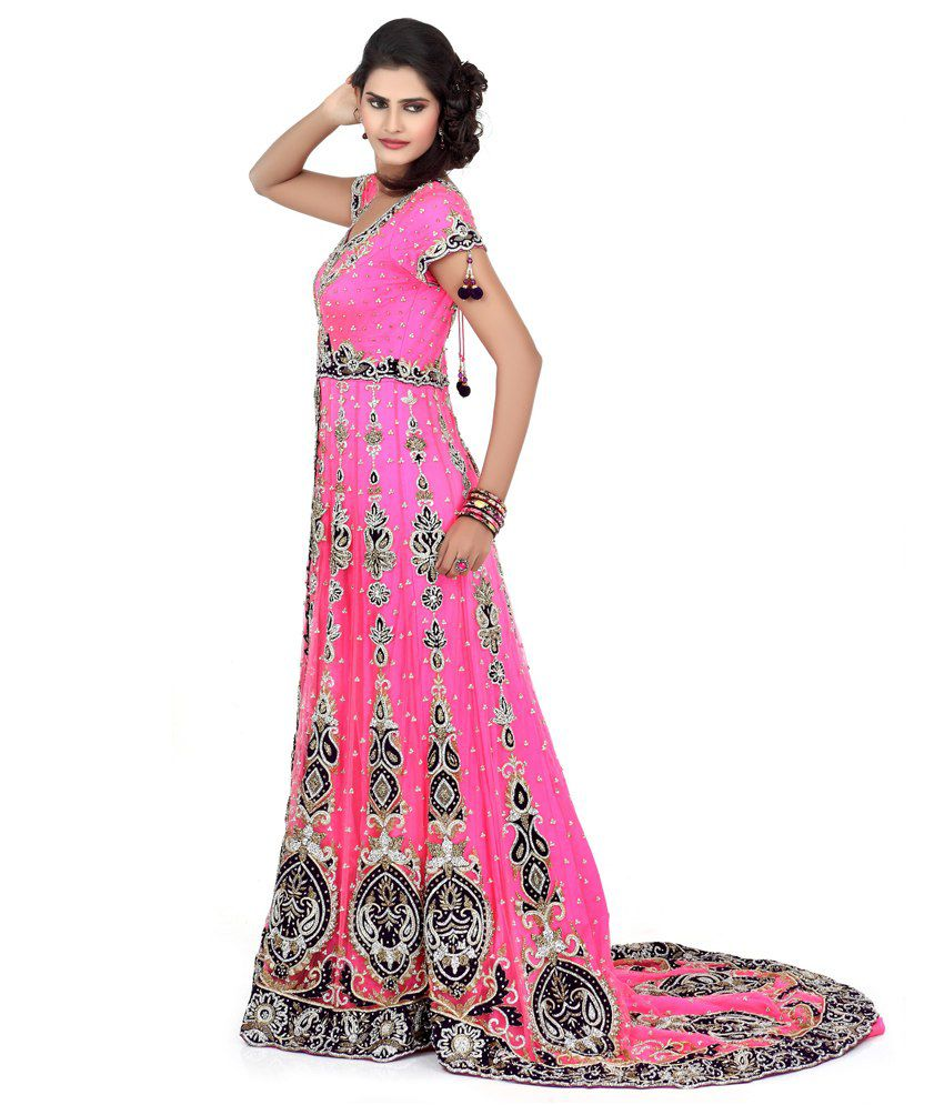 f25d64a6b7 Bawree Pink Sequinned Net Long Gowns Bawree Pink Sequinned Net Long Gowns  ...