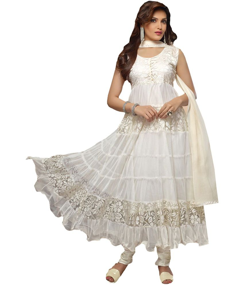 Beautiful Designer White Anarkali Suits