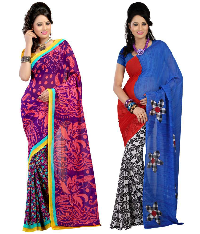 Bunny Sarees Charming Multi Colour Faux Georgette Pack of 2 Sarees