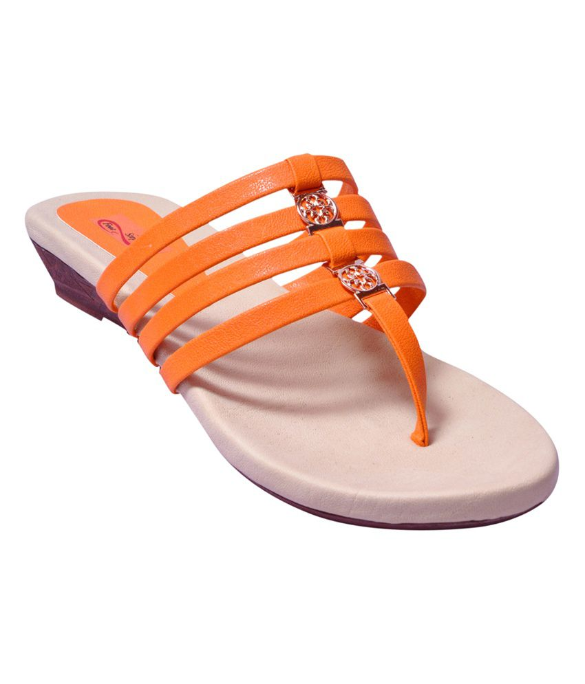 Foot Step Orange Flat Kolhapuri Slip On For Women