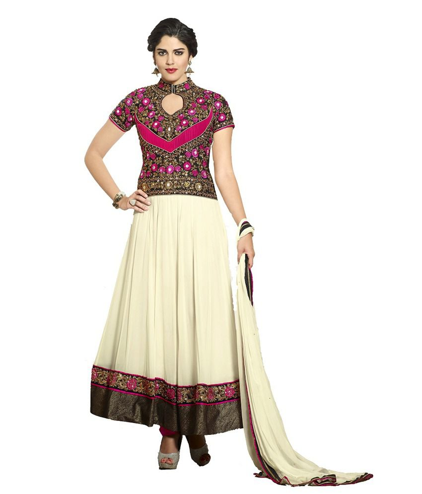 Jhalak Beige Embroidered Designer Salwar Suit
