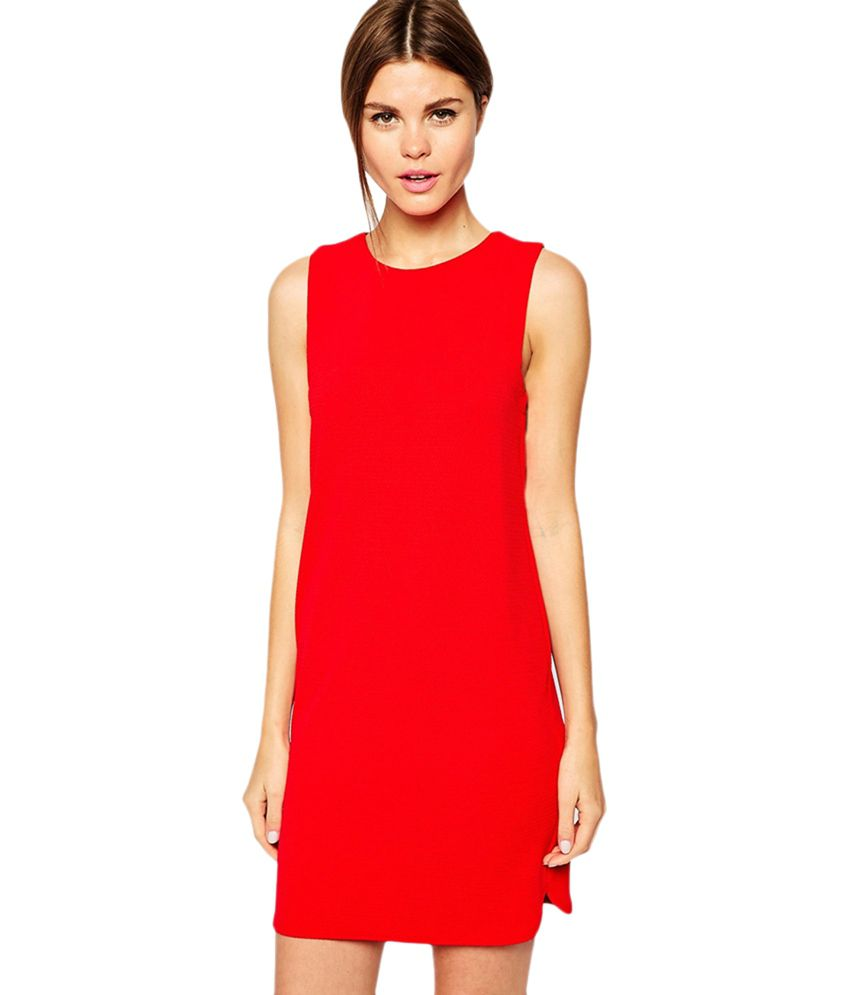 wonderful red shift dress outfit