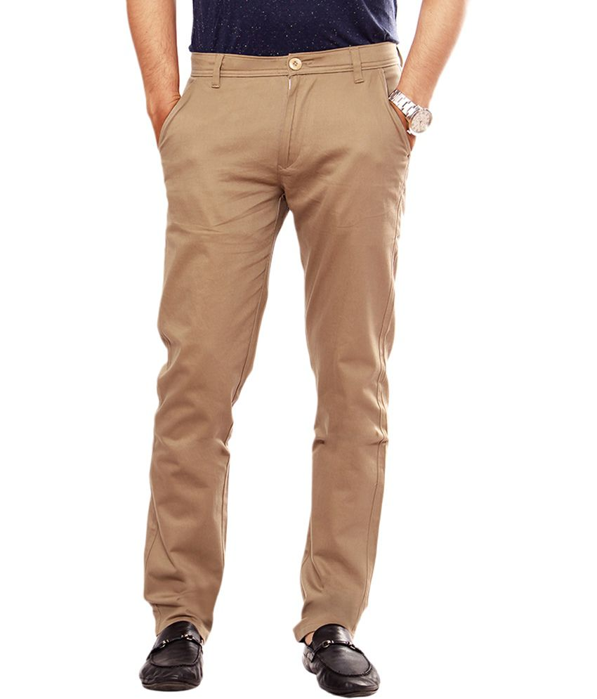 Uber Urban Khaki Cotton Lycra Casual Chinos