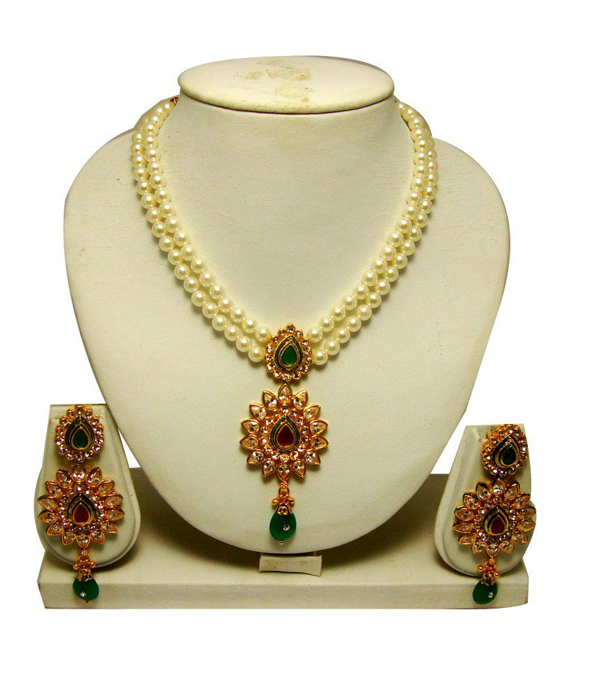 b8599806cf Adoreva Gold Plated Kundan Bridal Necklace Set - Buy Adoreva Gold Plated Kundan  Bridal Necklace Set Online at Best Prices in India on Snapdeal