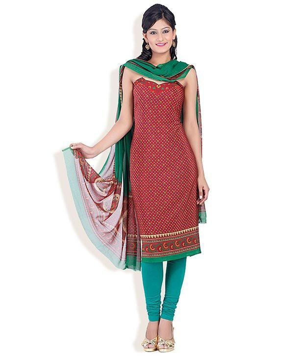 Chhabra555 Red Silk Printed Dress Material