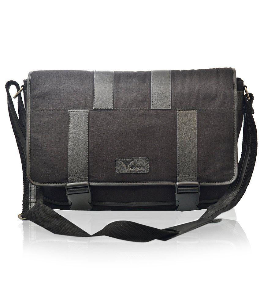 Hidegear Laptop Leather Canvas Bag