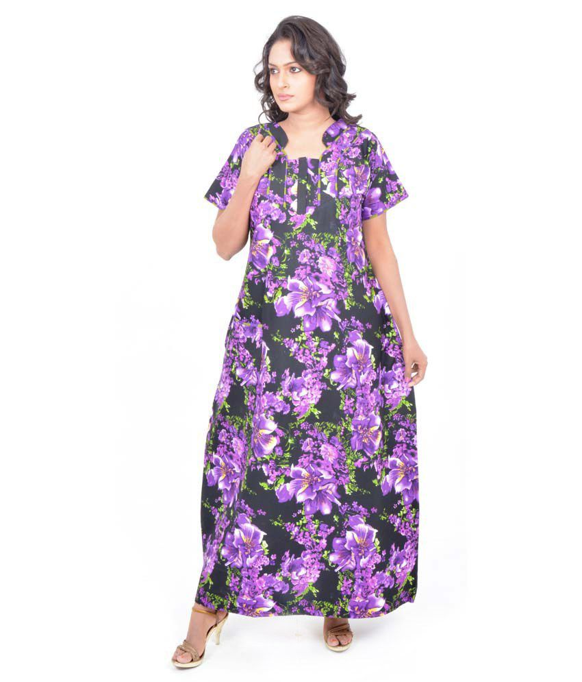 3097bf6832 Buy Pommys Purple Cotton Nighty Online at Best Prices in India - Snapdeal