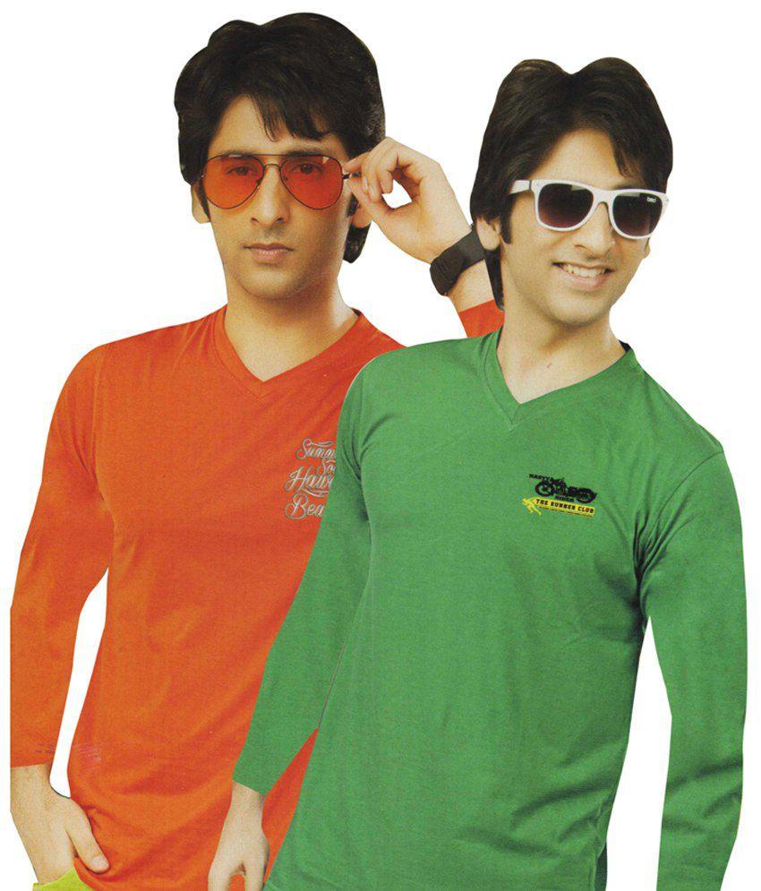 AJC V-Neck Orange Green Full Cotton T-Shirt-Pack Of 2