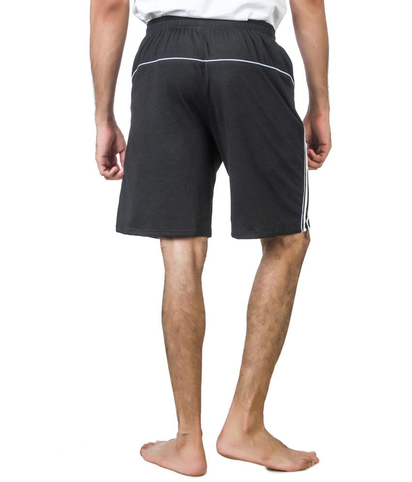 American Crew Black Shorts With Two White Stripes And Blue Piping ...