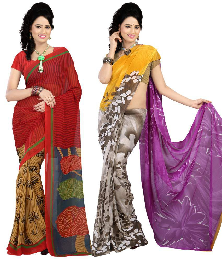 Bunny Sarees Dazzling Multi Color Printed Faux Georgette Saree With Blouse Piece - Combo Of 2