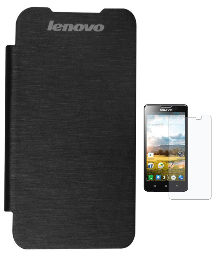 Evoque Flip Cover For Lenovo S660 Black + Screen Guard