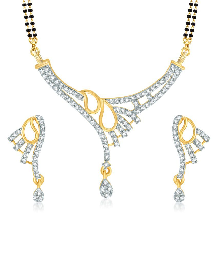 Vk Jewels Leafy Gold And Rhodium Plated Mangalsutra Pendant With Earrings