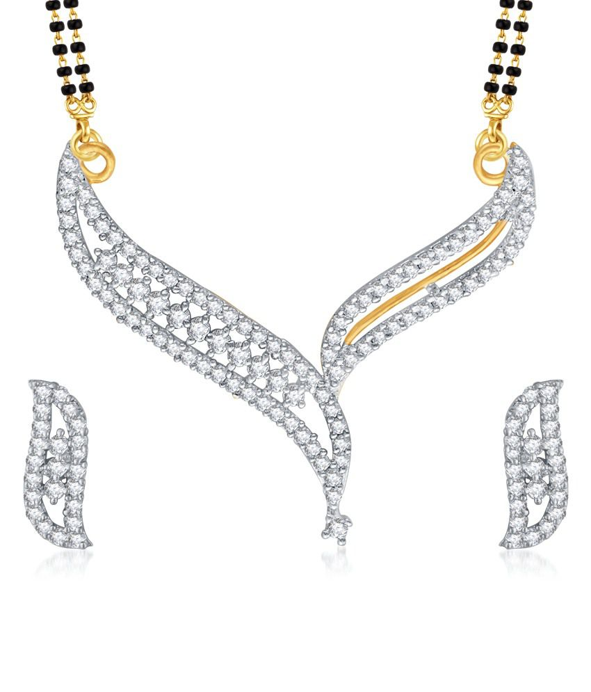 Vk Jewels Neck V Shaped Gold And Rhodium Plated Mangalsutra Pendant With Earrings
