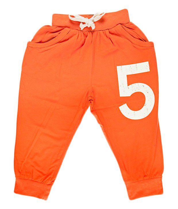 Hunny Bunny D.orange Cotton Capri For Girls