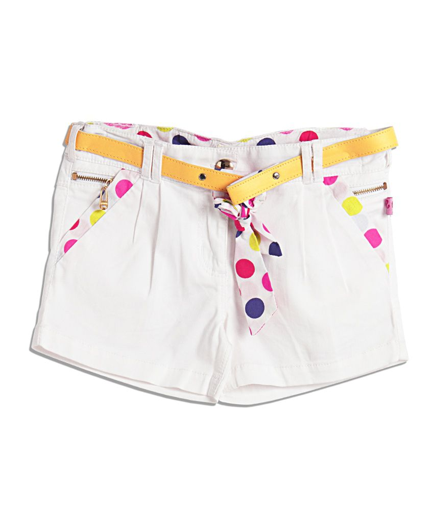 Barbie White Flared Printed Chiffon Trims Shorts For Kids