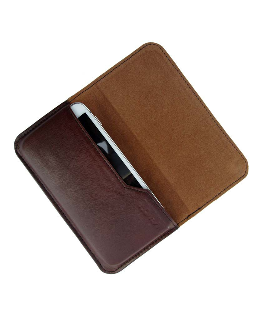 Ikitpit Genuine Leather Flip Pouch Case Cover For Lava Iris 405