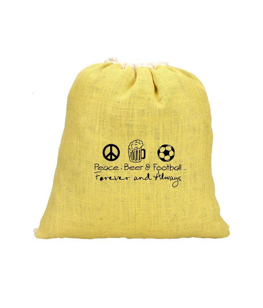 Campus Sutra Eco Friendly Jute Sling Bag - Peace, Beer & Football