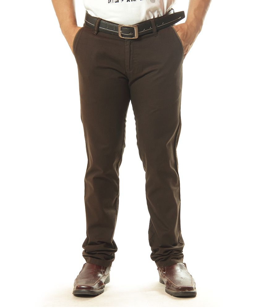 Canary London Brown Regular Casuals Chinos