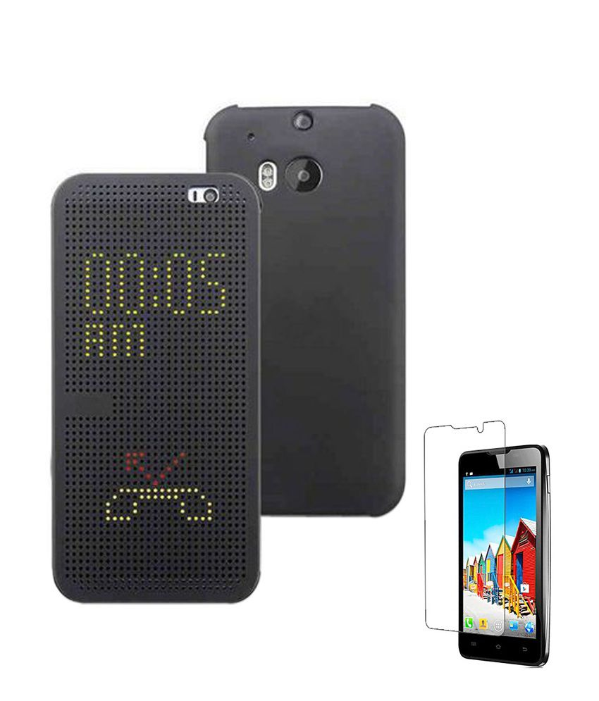 best service 39d17 3aa6f Flipmore HTC one M8 dot dotted view case Flip Cover Black