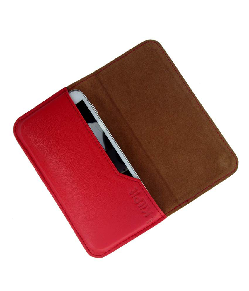 Ikitpit Genuine Leather Flip Pouch Case Cover For Alcatel Idol X