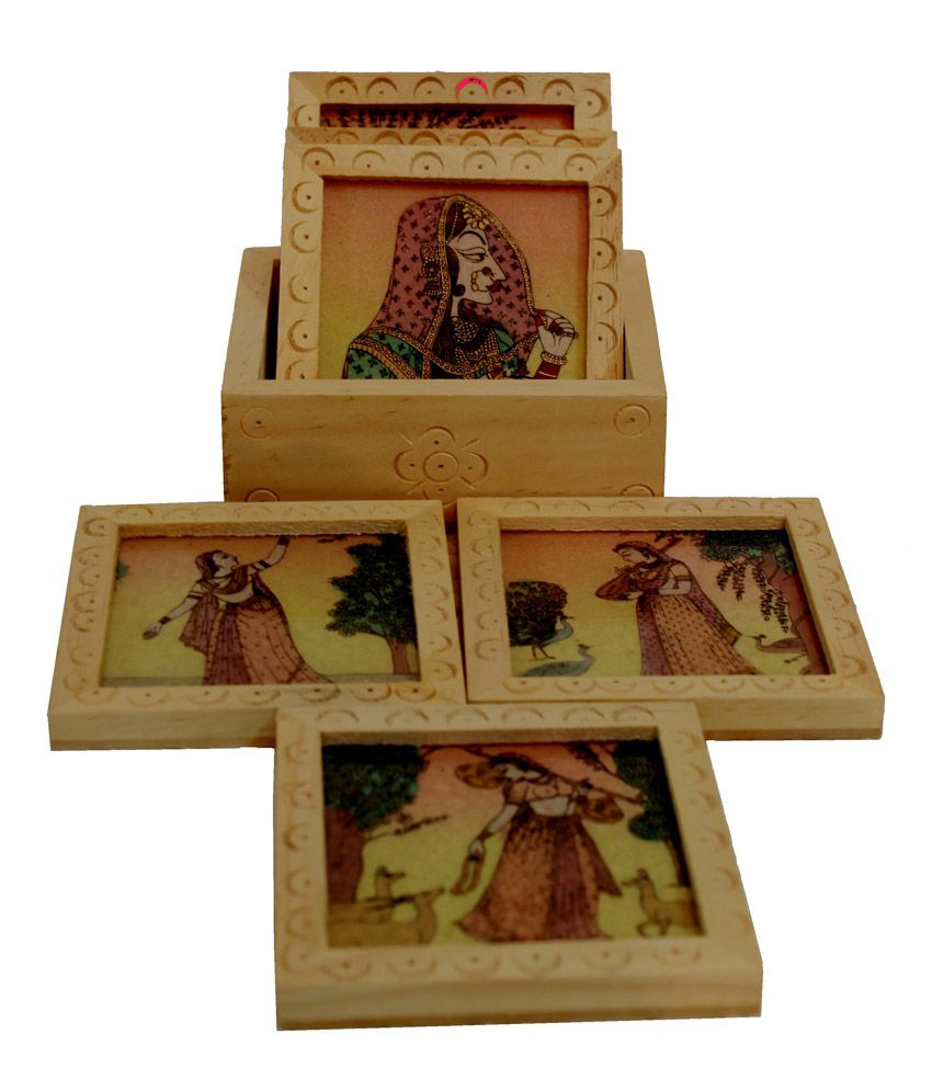 Crafts Gallery Wooden Coaster Set With Gemstone Painting For Home Decor Carved