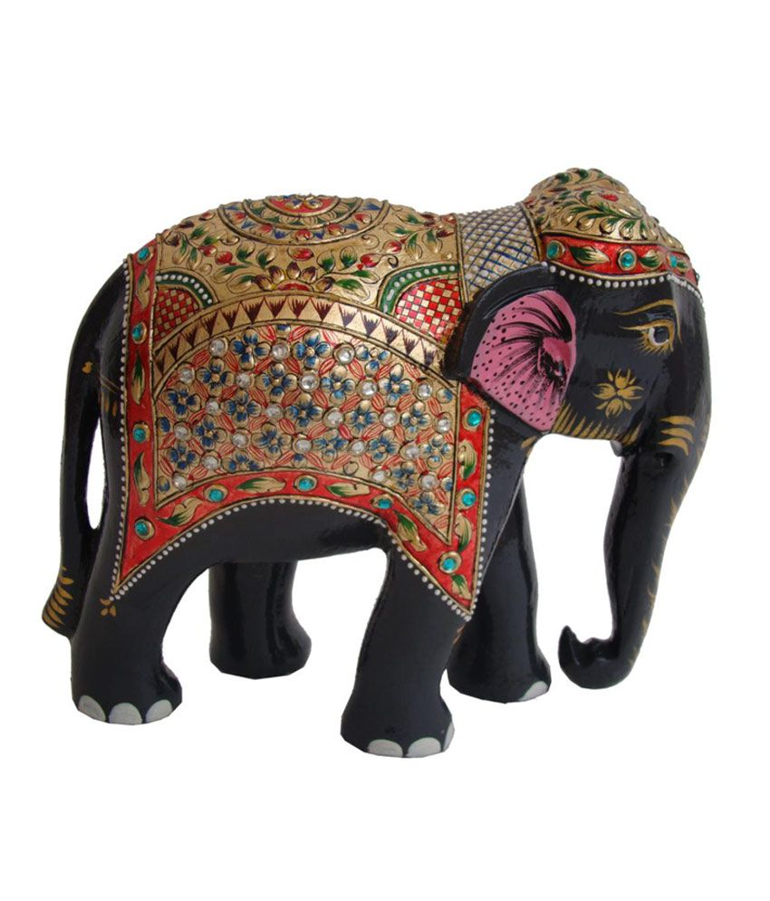 crafts gallery wooden elephant statue gold painted sculpture - Elephant Home Decor
