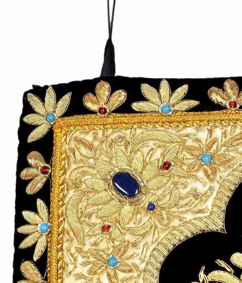 Nonch Le Black Velvet Fabric Golden Zardozi Work Home Decorative ...