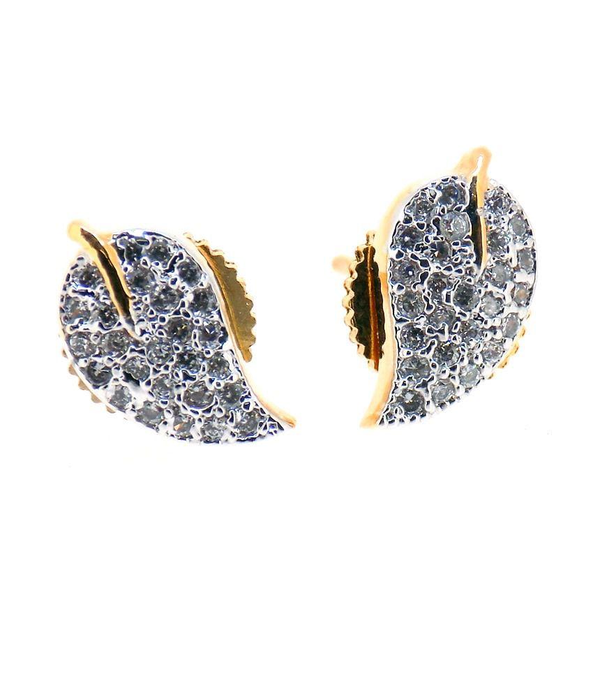 Aabhushan Jewels Leaf Shape Gold Plated American Diamond Stud Earrings For Woman