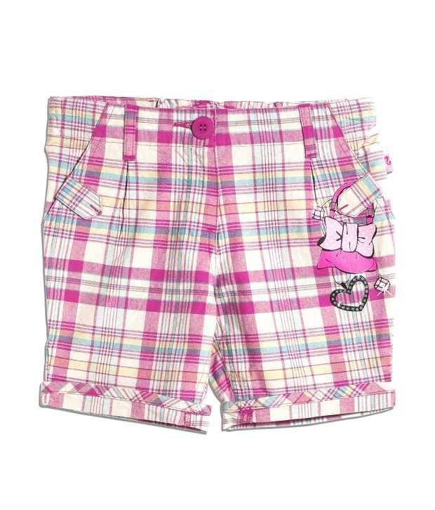 Barbie Pink Checks Multi Coloured Embroifdered Shorts For Kids