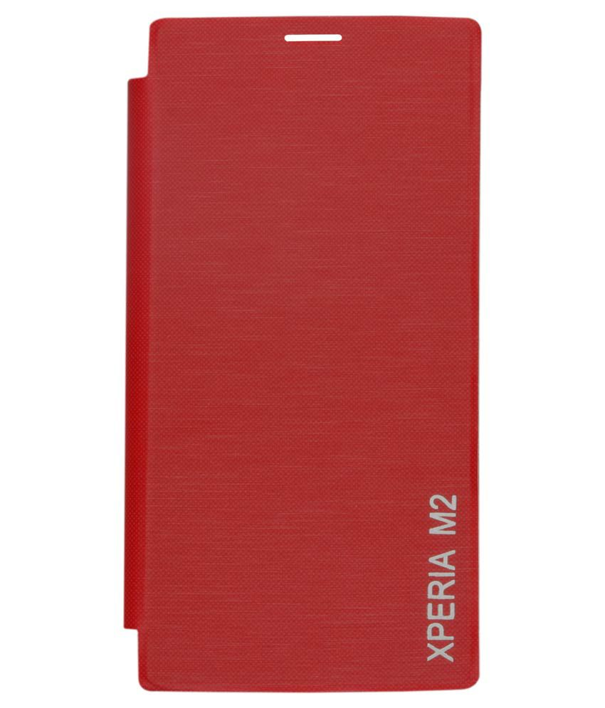 Dmg Protective Flip Cover Back Replace Leather Case For Sony Xperia M2 Dual (red)