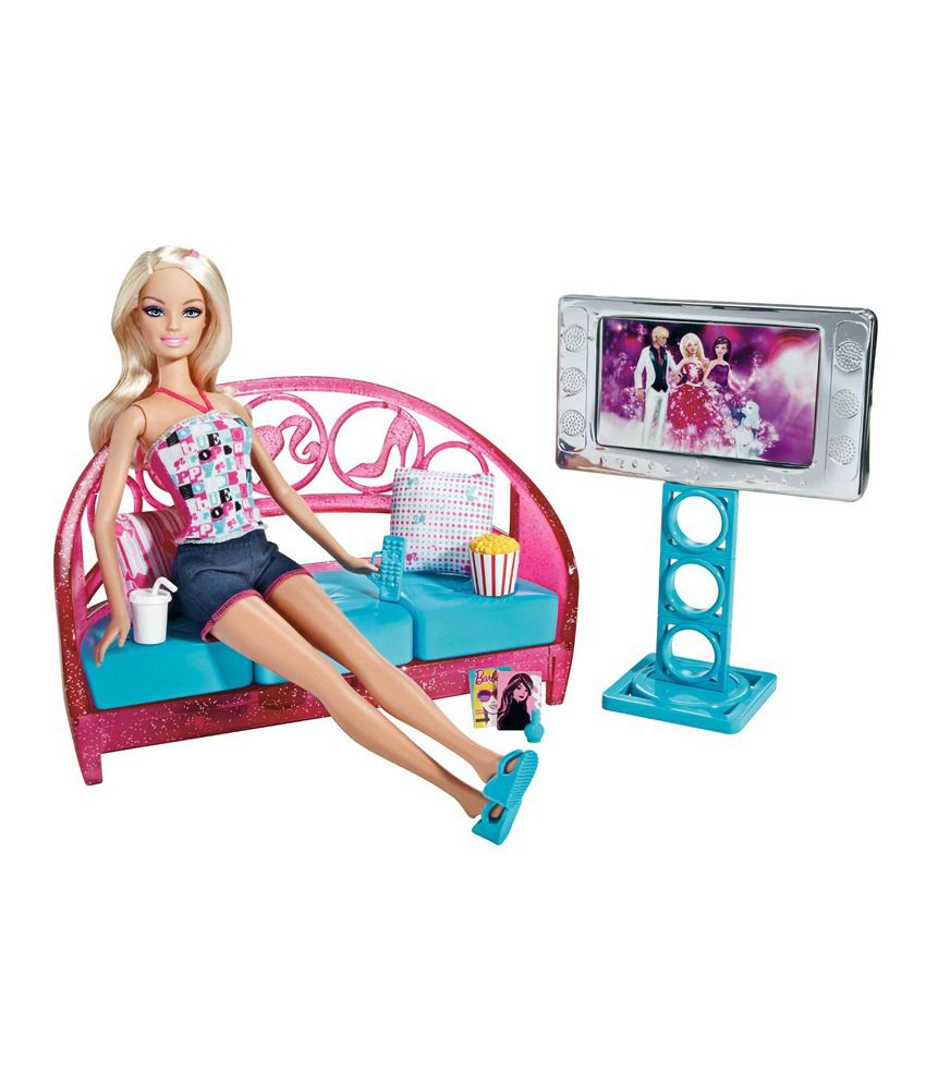 Mattel T9080 Barbie Movies To Munchies Living Room Doll Houses - Buy ...