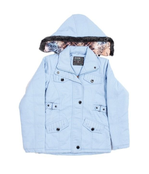 Okane Light Blue Hooded Jacket For Kids