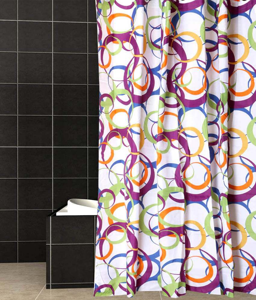 SKAP Blue And Purple Polyester Hookless Shower Curtain