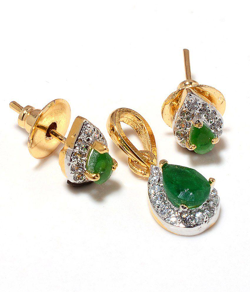 f74e263ad Sagun Designer Small Pretty Look Daily Wear American Diamond And Emerald Pendant  Set: Buy Sagun Designer Small Pretty Look Daily Wear American Diamond And  ...