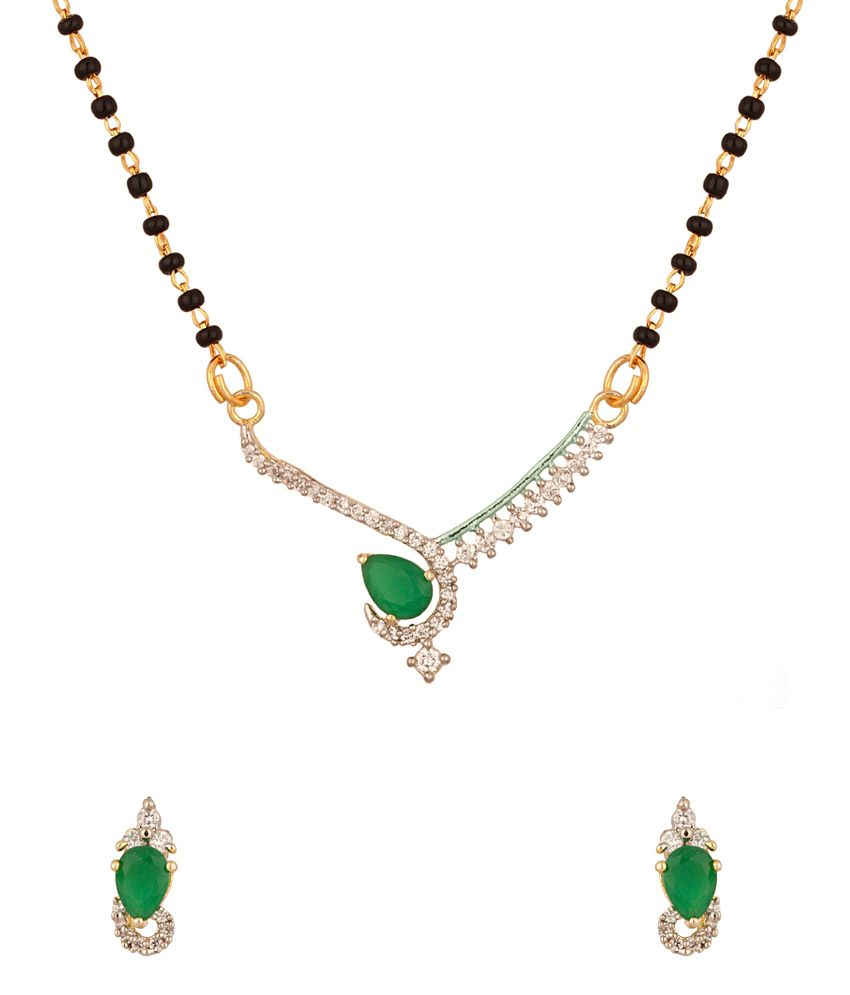 Voylla Gold Plated Single Strand Mangalsutra Set Studded With Green Dew Drop Stone