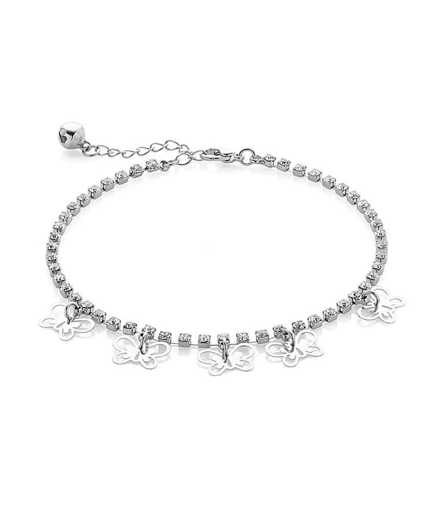 Voylla Single Anklet Encrusted With CZ With Butterfly Tassels