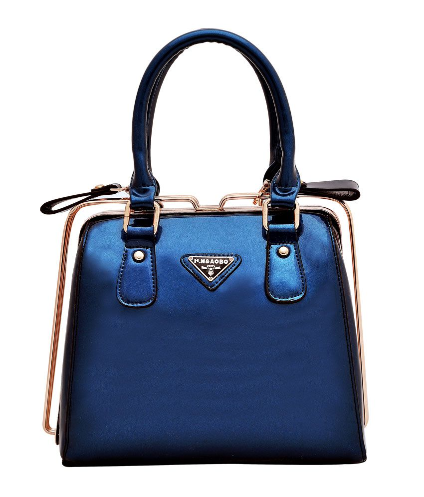 Hawai Glossy Blue Hand-held Bag - Pu Leather