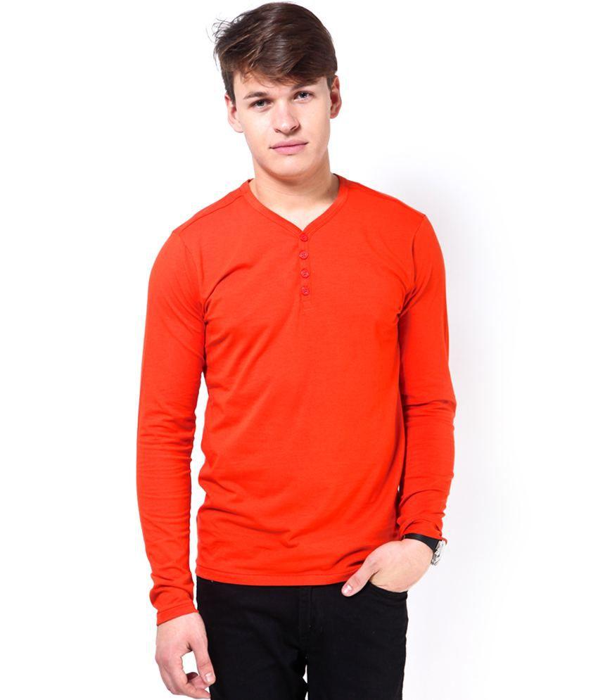Jack & Jones Orange Cotton Blend T-Shirt