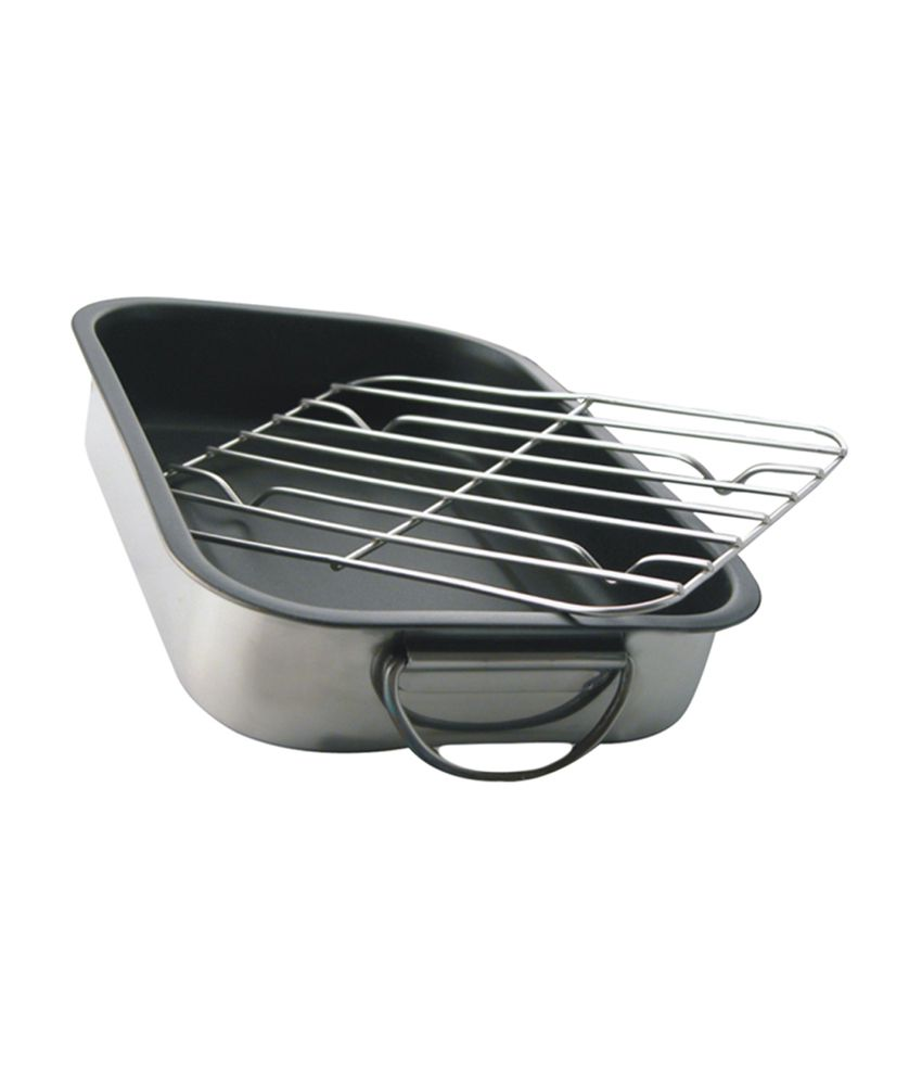 stainless steel deep roasting pan baking tray with grill. Black Bedroom Furniture Sets. Home Design Ideas