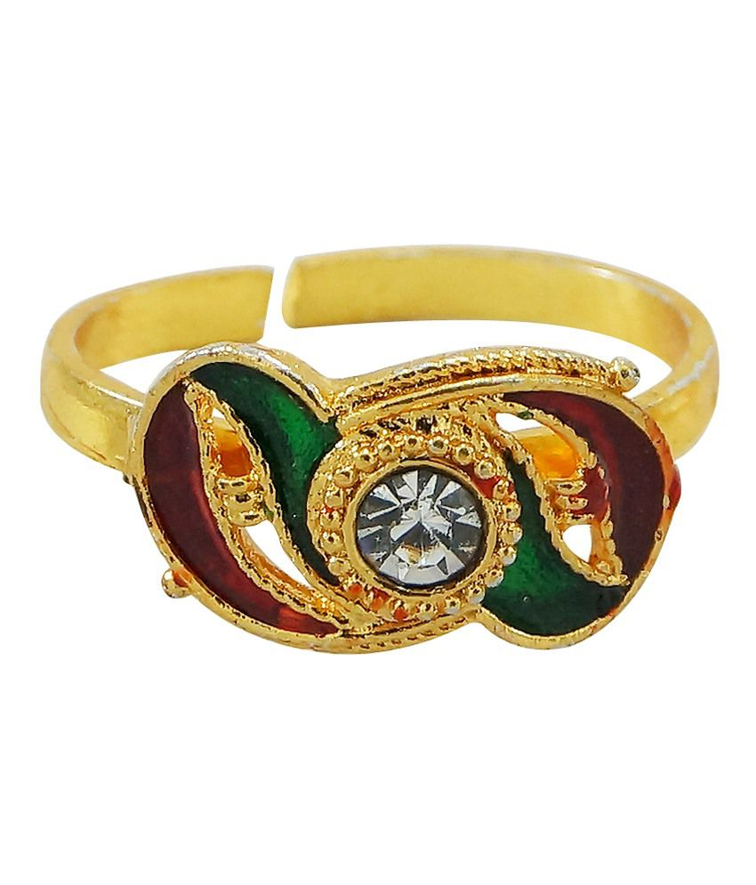 R S Jewels Golden Plated Cz Colour Spark Toe-ring