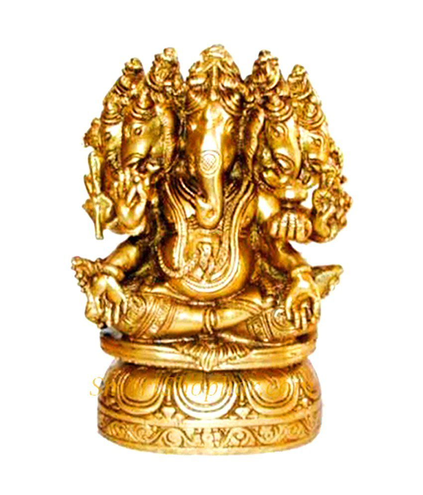 Smartshophar Gold Brass Lord Ganesha Statue 5 Face Buy