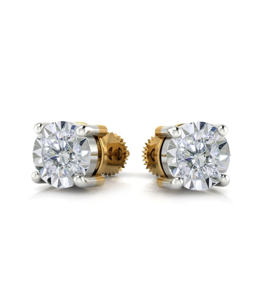 Vivre Jewels 0.10ct Natural Round Solitaire Diamond Stud Earring 18k Yellow Gold