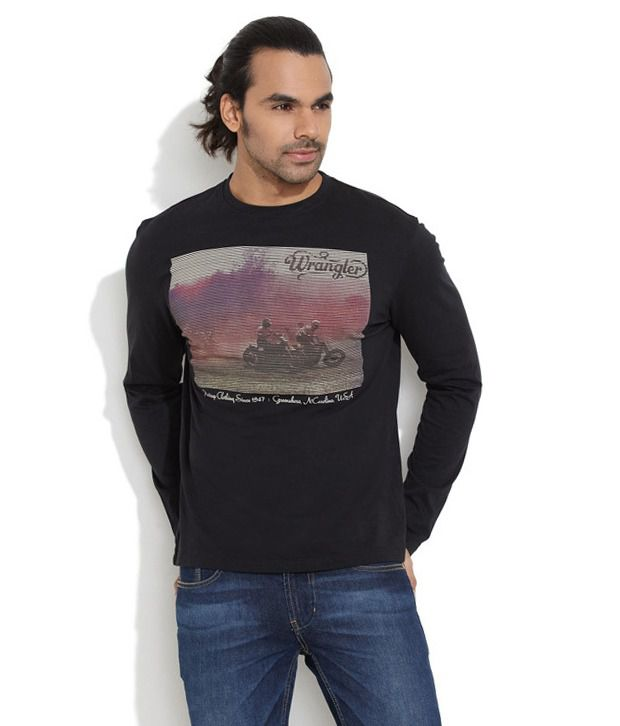 Wrangler Black Cotton  T-Shirt
