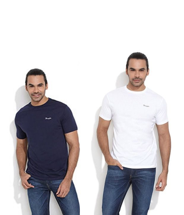 bf030da6f0b5 Wrangler Blue Cotton T-ShirtCombo Of 2 T Shirts - Buy Wrangler Blue Cotton  T-ShirtCombo Of 2 T Shirts Online at Low Price - Snapdeal.com