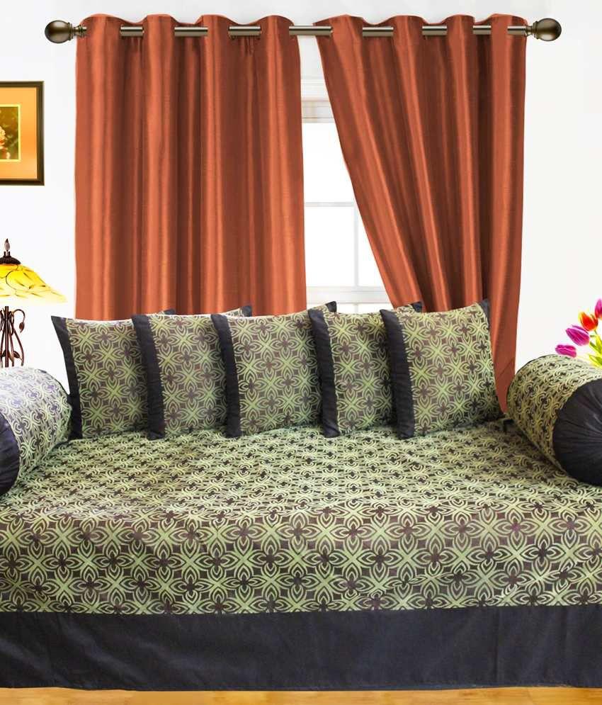 Dekor World Black & Green Floral Polyester Diwan Set 8 Pcs (Diwan Sheet, 5 Cushion Covers, 2 Bolster Covers)