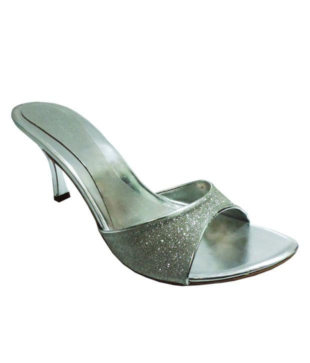 O'Faachi Silver Stiletto Heeled Slip-On